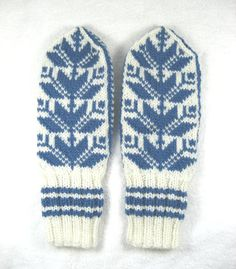 Nordic Wool Mittens Scandinavian mittens blue by LesleysHandknits  This is a lovely store! A must see for Christmas! Order early, and don't miss out!