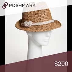 NWT Genie Rope trim hat by Eugenia Kim. Camel brushed crochet fedora. DARCY. One-Size, Circumference. Luxury Hats. Great hat for the Islands or cruise.💞 Eugenia Kim Accessories Hats