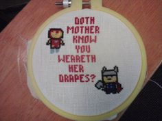 Avengers cross stitch by ~orijans on deviantART  ON A MORE SERIOUS NOTE, if some one would make this for me... I'm not even kidding I'd love you forever.