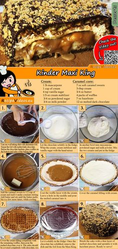 Kinder Maxi King recipe with video. Detailed steps on how to prepare this easy and simple Kinder Maxi King recipe! Cookie Desserts, Cookie Recipes, Dessert Recipes, King Torta, Maxi King, No Bake Cake, Food Hacks, Food Porn, Yummy Food