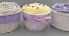 Lilac and lace wedding cupcakes