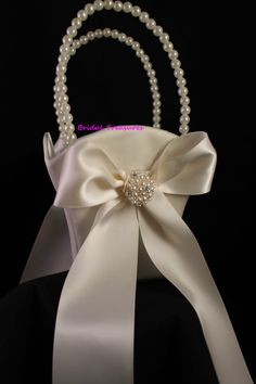 Ivory Flower Girl Basket with Round Pearl and Rhinestone Cluster Accent