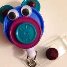 Teddy Bear Flip-Top Retractable Id Badge Reel