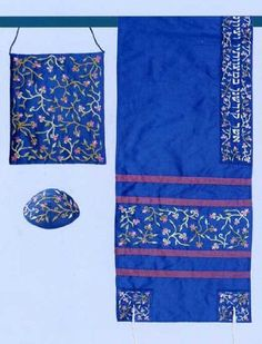 Embroidered Raw Silk Tallit Set - Blue Floral:Amazon:Clothing