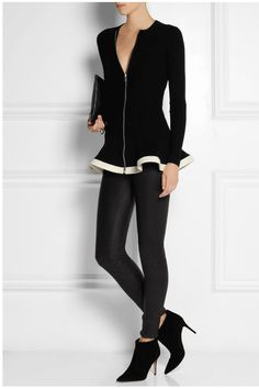 Fall 2014 outfit: Peplum sweater cardigan; black skinny pants; ankle boots; clutch