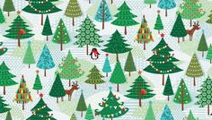 Christmas Trees Blue Christmas  - Cotton