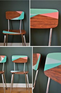 aus alt neu machen hölzerne stühle mit geometrischen figuren bemalen