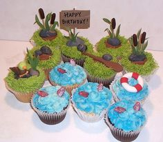 Fishing Cupcakes - Fishing themed cupcakes in an assortment of flavors - pound cake, chocolate and RKT (because one of the guests is allergic to wheat).  Whimsical theme but made for a thirty-something's birthday.