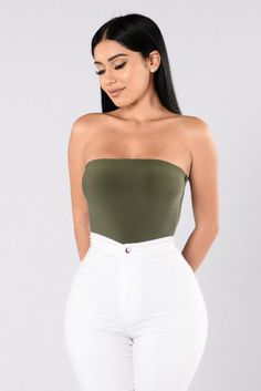 Available in Black,Olive, and Mocha - Tube Strapless Bodysuit - Made in USA - All Bodysuits are final sale - Cheeky Bottom - 96% Polyester 4% Spandex