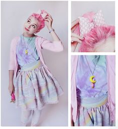 Nerdy Little Secrets Chubby Pink Heart Pattern Bow, Nerdy Little Secrets Sailor Moon Wand Necklace, Toxic Blossom  Pastel Clouds Dreamy Layer Skirt, Self Made Pastel Tie Dye 原宿 Shirt, Thrifted  Baby Pink Cardigan, Unknown Pastel Lavender Cat Face Watch, A