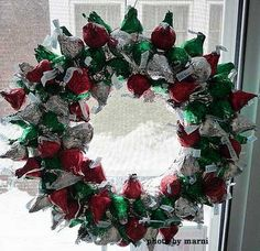 Hershey kisses wreath