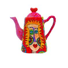 pop art teapot made with polymer clay original drawing by MIRAKRIS,