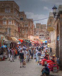 Souqe (market) in Sana'a old city, Yemen