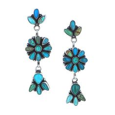 Navajo Carico Lake Turquoise Clusters Earrings Sterling Silver Dangles
