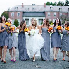 Gray Bridesmaid Dresses, Orange Flowers