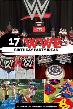 17 Wild WWE Birthday Party Ideas - Spaceships and Laser Beams Wrestling Birthday Parties, Wrestling Party, Wwe Birthday, Birthday Party Tables, Boy Birthday Parties, Birthday Party Decorations, Birthday Ideas, Wrestling Cake, Birthday Boys