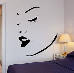 Wall Stickers Vinyl Decal Perfect Sexy Girl Women Face Lips Makeup Spa (ig659)