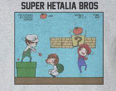 Axis Powers Hetalia Chibi Super Mario Hetalia Brothers Italian Tee T-Shirt Shirt