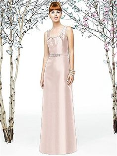 Eelgant Full length sleeveless gazar bridesmaid dress w/ pleated detail at scoop neck. Matching belt w/ silver beaded detail at natural waist of slight A-line skirt. Also available cocktail length.  http://www.modelbride.com/Lela-Rose-Style-LX199-Prodview.html