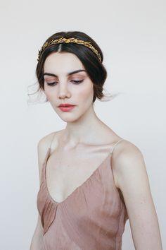Annette Circlet headpiece with Swarovski crystals // gold headband // Handmade in New York // Jennifer Behr