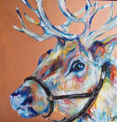 Rustic Rudolf Original Painting 24x24 by Jennifer Moreman via Etsy.