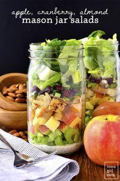 Apple, Cranberry, Almond Mason Jar Salads with homemade Greek Yogurt Poppy Seed Dressing are a fresh, healthy, and easy make-ahead lunch option! #glutenfree | iowagirleats.com