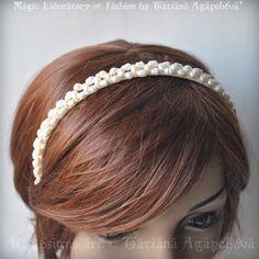 Wedding Headband Baroque Freshwater Pearls Handwoven by TianaCHE, $120.00