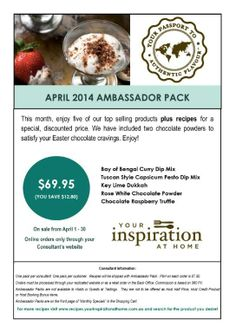 Not up for a tasting.... How does our APRIL Ambassador Pack sound...  This awesome pack is ONLY available to my ONLINE customers... All packs will be shipped with handy hints and recipes