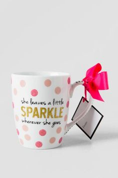 Gold and Pink Glitter She Leaves Sparkle Mug $16.00