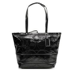 Coach Signature Op Art Patent Leather Book Tote 15142 Black   Made of beautiful stitched patent leather with silver hardware.  ...More Detail >> http://astore.amazon.com/pin-handbags-20/detail/B004HCDQQC Price: $173.00