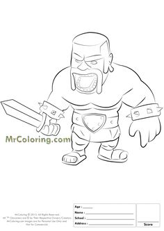 Free Printable Clash of Clans Barbarian Coloring Pages - 1