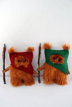 Star Wars Ewok Fur Ooak .12cm. Dark Red.. $16.00, via Etsy.