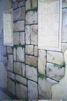 painted stone wallWant to know the trick to painting the faux stone wall effect