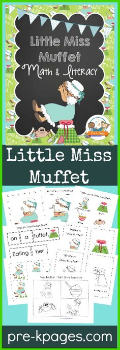 Little Miss Muffet printable math and literacy nursery rhyme activities for your preschool, pre-k, or kindergarten classroom. Hands-on learning fun! Rhyming Preschool, Rhyming Activities, Preschool Curriculum, Preschool Printables, Teaching Kindergarten, Book Activities, Preschool Ideas, Phonics, Nursery Rhyme Crafts