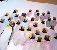 "21 Likes, 5 Comments - Katalin Adler (@katalinadler) on Instagram: ""Part of the penguin flock 🐧🐧🐧 . . . #inprogress #penguins #penguin #penguinart #animalart #instaart…"""