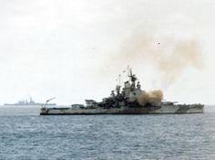 """USS Nevada (BB-36) bombarding Iwo Jima, 19 February 1945. A North Carolina class battleship (probably USS Washington, BB-56) is in the left..."
