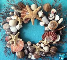 22' sea shell wreath, decorated with variety of natural sea shells and dried exotic scented nuts. Base is made from wine branches
