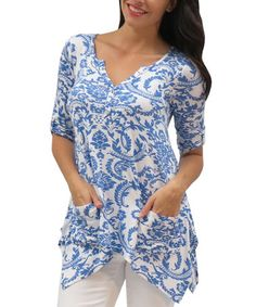 Look what I found on #zulily! Blue Damask Bailey Handkerchief Tunic - Women & Plus by Caite #zulilyfinds