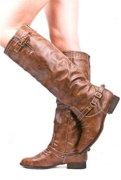 BROWN FAUX LEATHER RIDER BOOTS