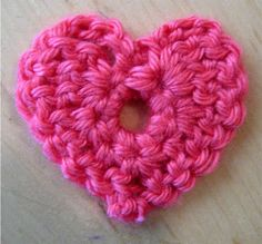 Cute Crocheted heart to put on a hat, scarf, headband, or bag. Great for Valentines day -- in a card!