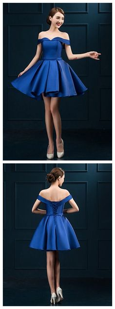 Off-the-shoulder Short/Mini dress in royal blue! How refreshing it looks.
