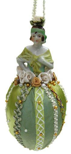 Antique green porcelain half-doll Decoration