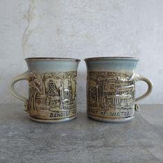 Australian Studio Pottery Coffee Mugs by Graham Masters, Sweenies Creek Pottery. Made in Bendigo Victoria Australia. Design - Bendigo Golden Heart of Victoria.