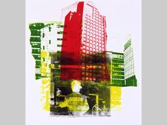graphic Dutch artist Hilly van Eerten:; graphic collage print by mono-type of Rotterdam city, the Netherlands - colorful graphic art, after her photos