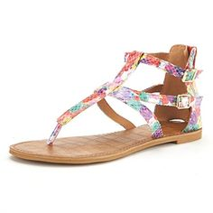 DREAM PAIRS VICTUS Women's Gladiator Ankle Strap Thong With Two Adjustable Buckles Accent Summer Flat Sandals -- Want to know more, click on the image.