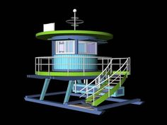 Miami Beach will replace two weathered lifeguard stands with brightly colored models designed by local architect William Lane and refurbish the others before it celebrates its centennial later this month. Miami Art Deco, Arcade, Lifeguard, Miami Beach, Beams, March, Design, Street, City