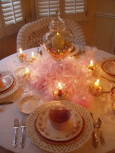 Valentine tablescape - I would use red hots instead....