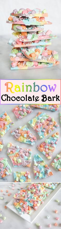 Make a treat that looks beautiful and is sweet and tasty! All you need is some rainbow colored almond bark with cereal marshmallows!