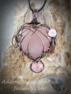 Adams Handcrafted Jewelry. Light Pink Rose Quartz Semi-Precious Wire-wrapped Heart Gemstone Pendant with Czech Crystals Bead in Copper Patina Finish,