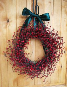 HOLIDAY RED Berry Wreath--Primitive Woodland Winter Grapevine Wreath- SCENTED Apple Cinnamon or Choose your Scent  $50